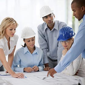 Group of architects working on a project.